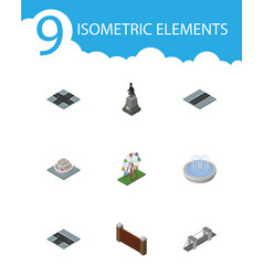Isometric city set of barrier park decoration vector
