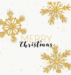 Merry christmas golden glitter snowflakes card vector