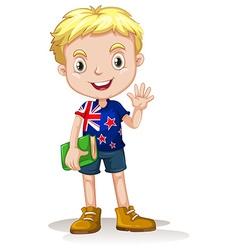 Newzealand boy carrying a book vector