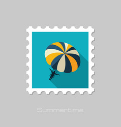 Parasailing summer kiting activity stamp vector