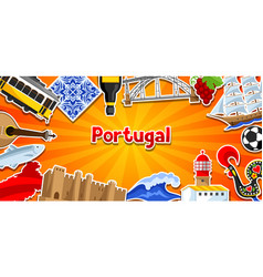 portugal banner with stickers portuguese national vector image