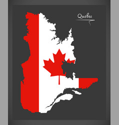 Quebec canada map with canadian national flag vector