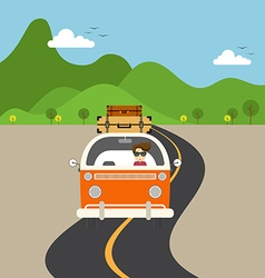 Retro van travel concept flat design vector image