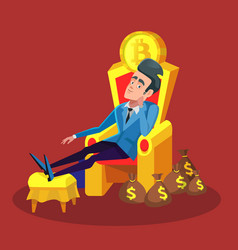 Rich businessman sitting on throne with bitcoin vector
