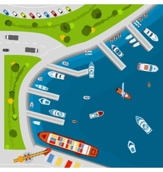 Seaside port aerial top view poster vector