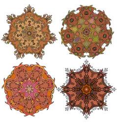 Set of round mandala ornament vector