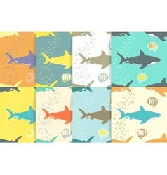 Set of Seamless patterns with sharks vector image vector image