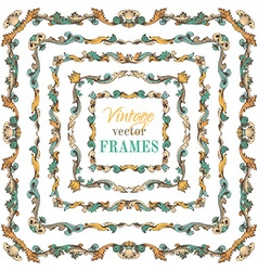Set of vintage border frames vector