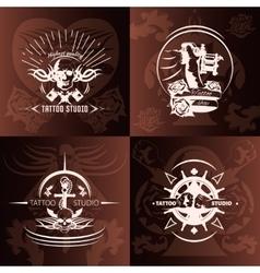 Tattoo studio compositions vector