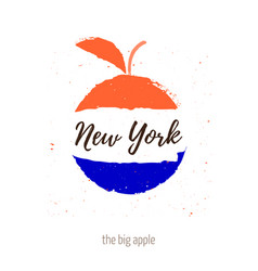 The big apple with inscription new york apple vector