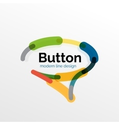 Thin line design geometric button flat vector image