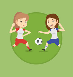 two female soccer players fighting for ball vector image