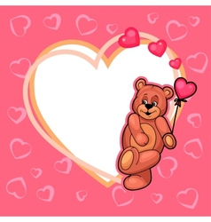 valentine day card with teddy vector image vector image