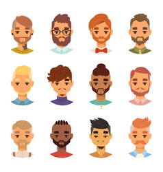 various expressions bearded man face avatar vector image
