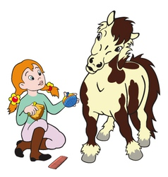 Girl grooming pony vector
