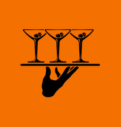 waiter hand holding tray with martini glasses icon vector image