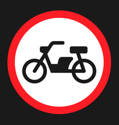 No motorcycle prohibition sign flat icon vector