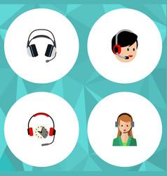 Flat hotline set of earphone headphone operator vector