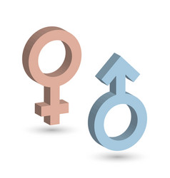 3d male and female symbols in blue and pink color vector