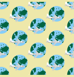 Airplane and earth pattern vector