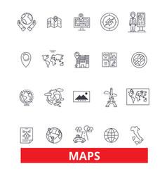 Maps globe compass scheme blueprint atlas vector