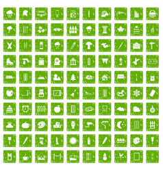 100 drawing icons set grunge green vector