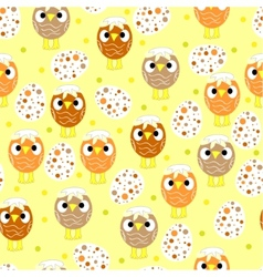 Seamless pattern with easter eggs and chickens vector