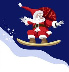 Santa claus carrying a bag of gifts on a snowboard vector