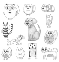 Hand drawn cats and dogs set vector