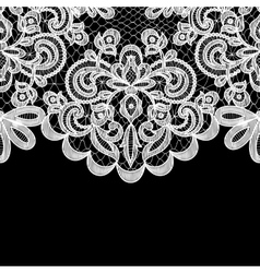 lace border on black background vector image