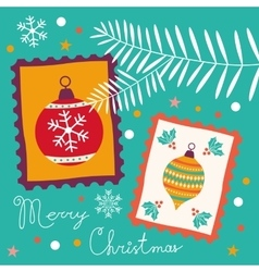 Vintage christmas card with stamps vector