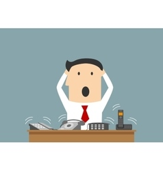 Busy businessman and ofice telephone calls vector image