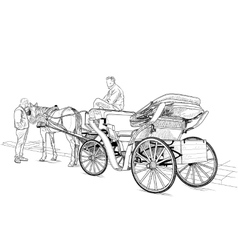 Horse drawn carriage vector