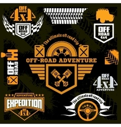 Set off-road suv car emblems design elements vector