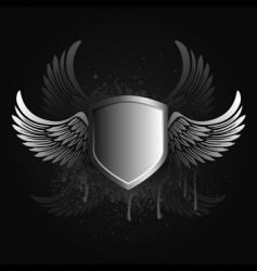 winged shield emblem vector image