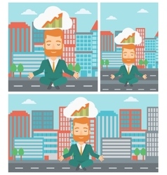 Peaceful businessman doing yoga vector