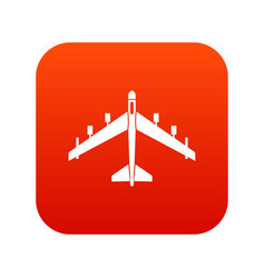 Armed fighter jet icon digital red vector