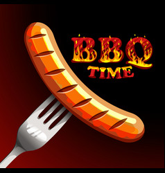 bbq time - photorealistic sausage on a fork vector image