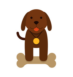 Brown puppy dog with bone - flat cartoon vector