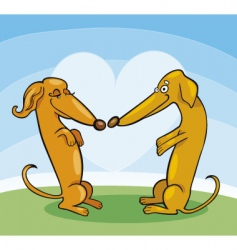 cartoon dachshunds in love vector image vector image