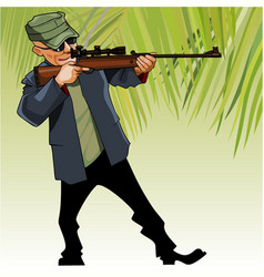 Cartoon male hunter aiming with an optical sight vector