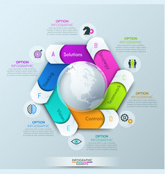 circular infographic design layout with 6 spiral vector image vector image