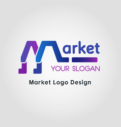 Color blend market business logo template vector