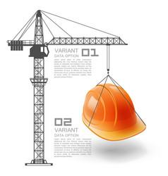 crane lifts the helmet vector image
