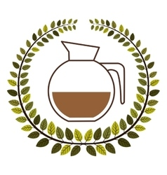 Crown of leaves with rounded glass jar of coffee vector