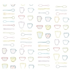 Cups mugs silverware outline seamless pattern vector