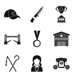 Equestrian icons set simple style vector