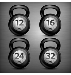 Four metallic kettle bells vector