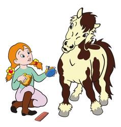 girl grooming pony vector image vector image