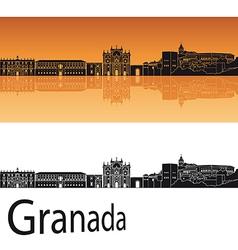 Granada skyline in orange background vector